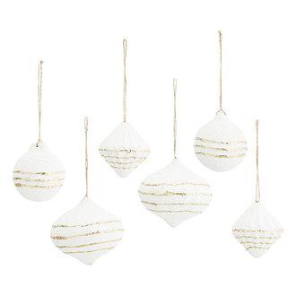 Madam Stoltz Papier-maché hangers wit/goud - set van 6