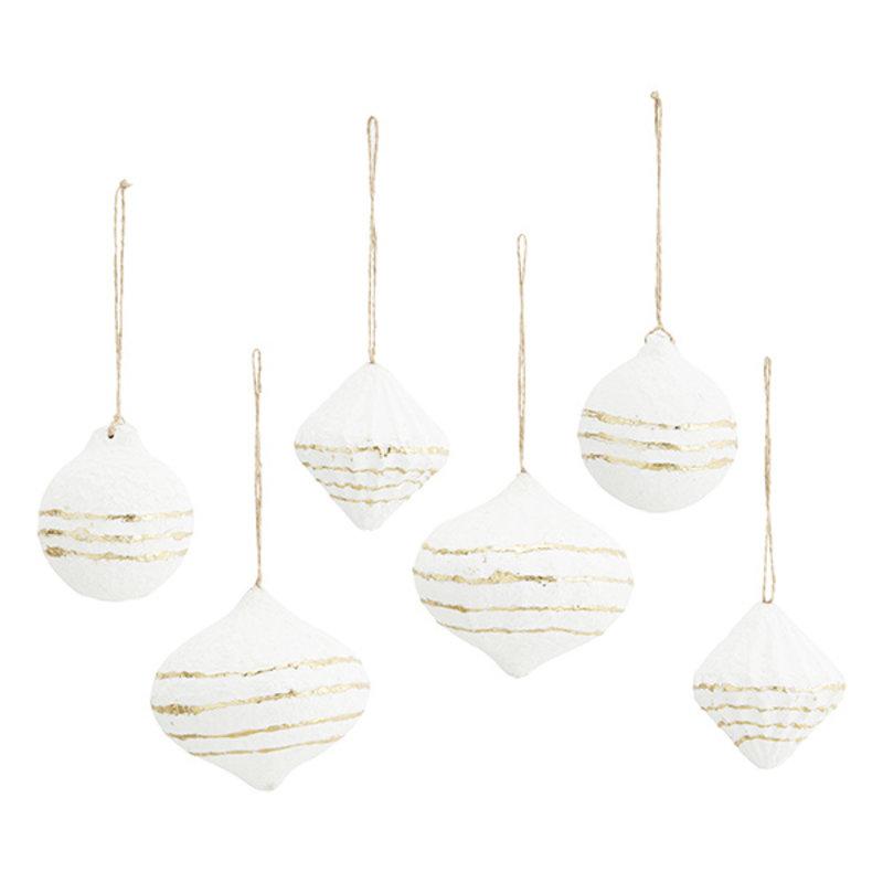 Madam Stoltz-collectie Papier-maché hangers wit/goud - set van 6