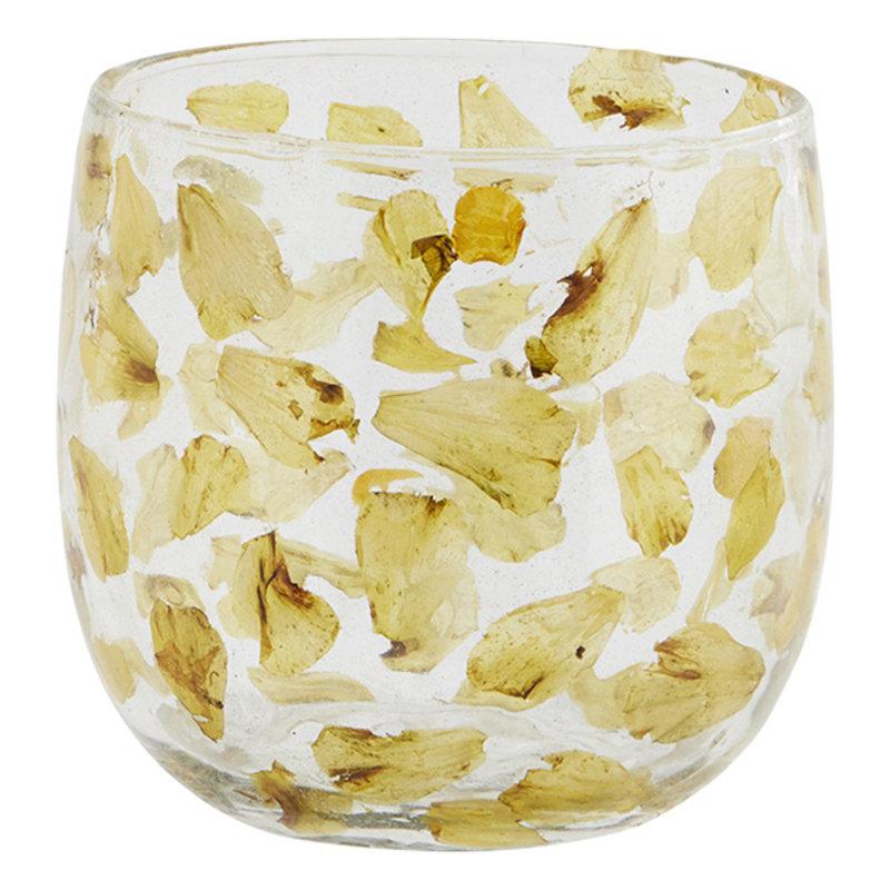 Madam Stoltz-collectie Glazen waxinehouder met gele bloemblaadjes