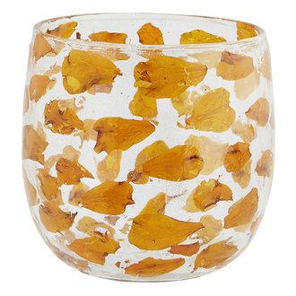 Madam Stoltz Glazen waxinehouder met oranje bloemblaadjes