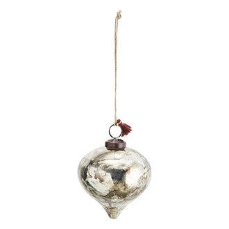 Madam Stoltz Glazen kerstbal zilver - 10 cm