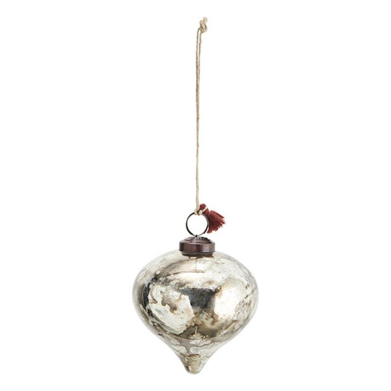 Madam Stoltz-collectie Glazen kerstbal zilver - 10 cm
