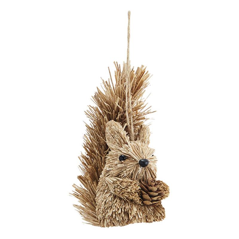 Madam Stoltz-collectie Eekhoorn hanger van gras - 12 cm