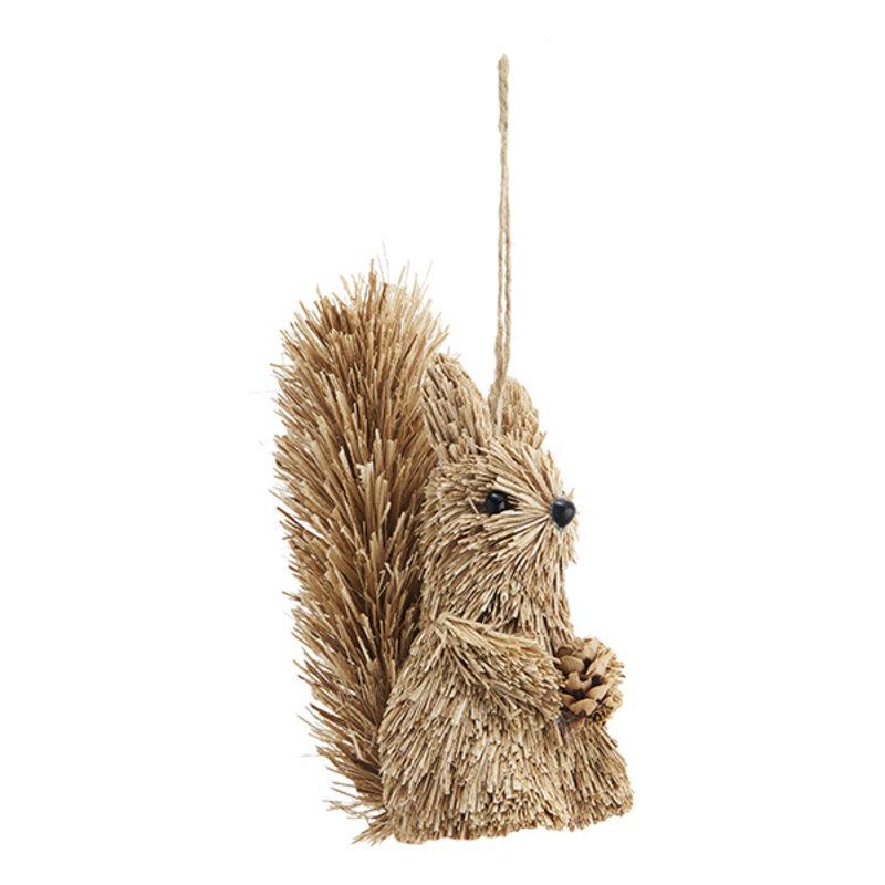 Madam Stoltz-collectie Eekhoorn hanger van gras - 14 cm