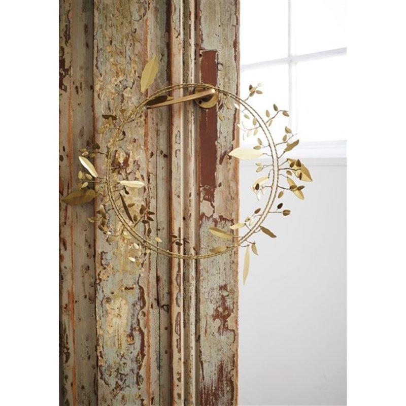 Madam Stoltz-collectie Metalen kerstkrans antiek brass