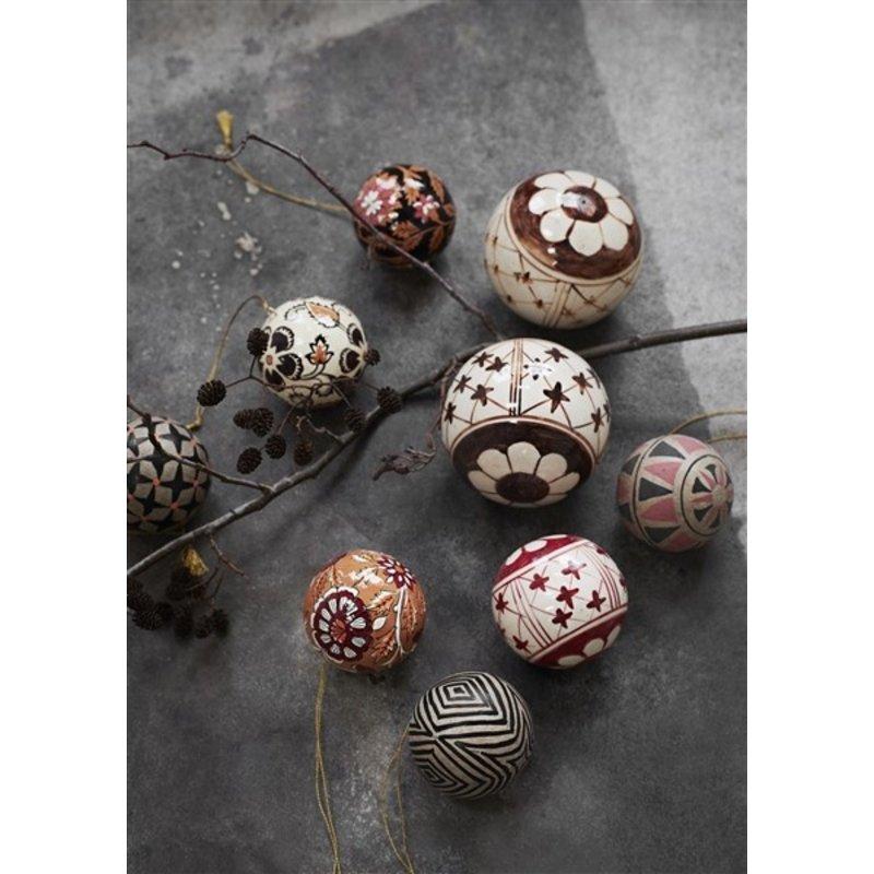 Madam Stoltz-collectie Papier-maché kerstballen naturel/zwart/oranje - set van 2