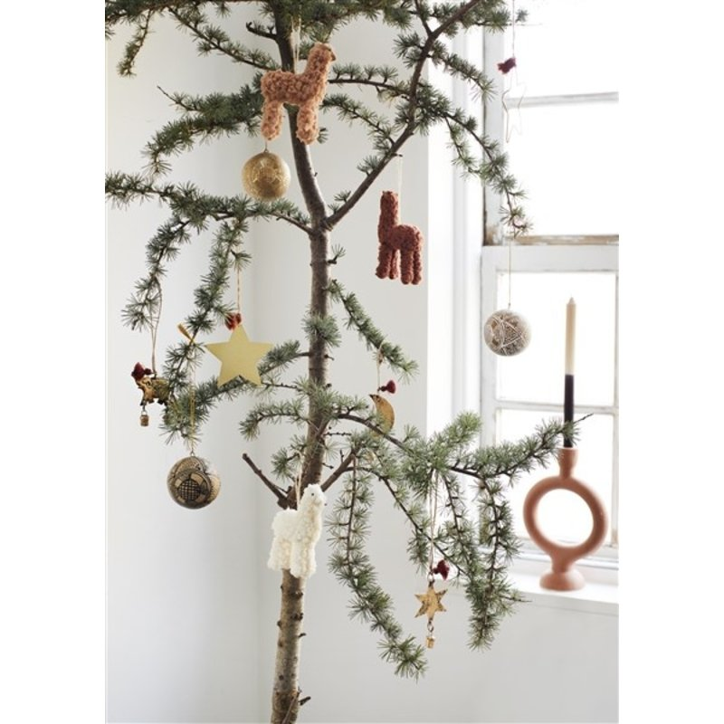 Madam Stoltz-collectie Papier-maché kerstballen naturel/zwart/wit/goud - set van 3