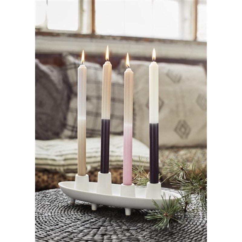 Madam Stoltz-collectie Ovalen kandelaar offwhite voor 4 kaarsen