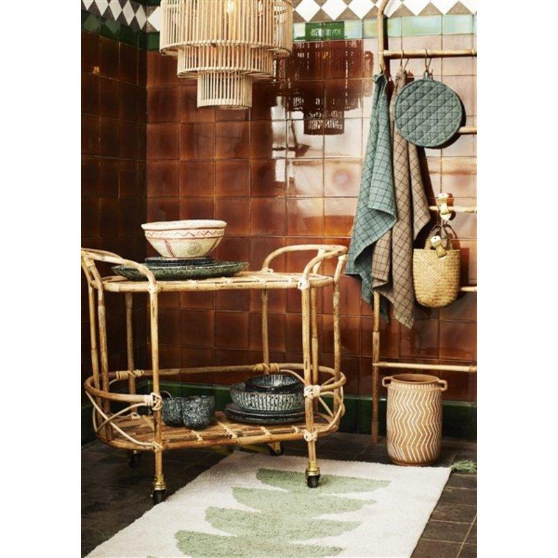 Madam Stoltz-collectie Geruite theedoek ivy groen/zwart