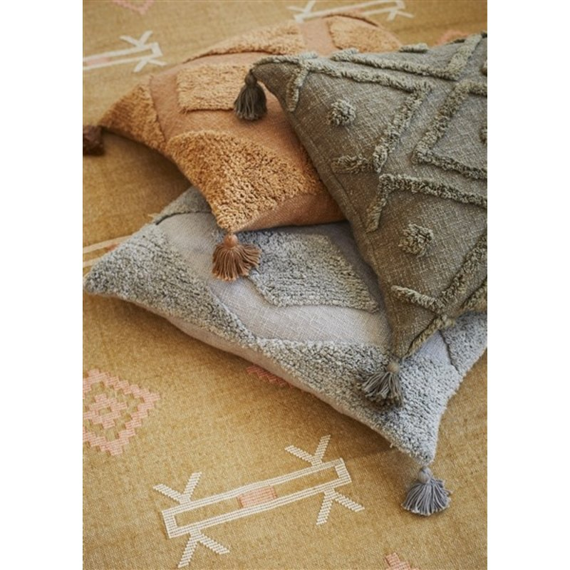 Madam Stoltz-collectie Tufted kussenhoes 60x60 cm indian tan