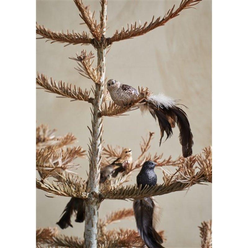 Madam Stoltz-collectie Glitter vogels goud/rosé/zwart - set van 3