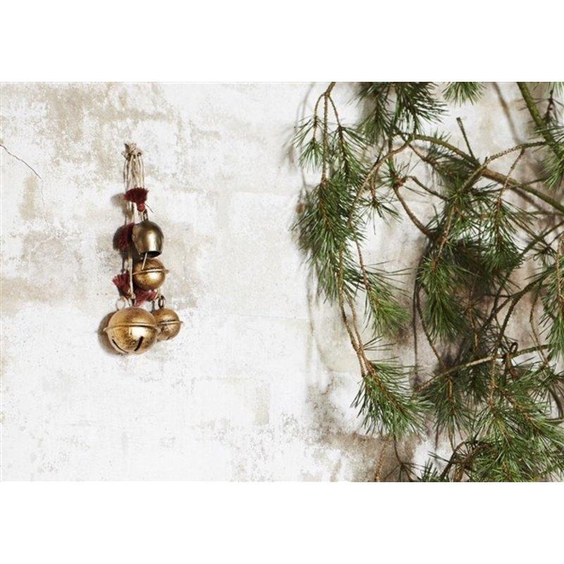 Madam Stoltz-collectie Metalen hangers met bellen brass - set van 2