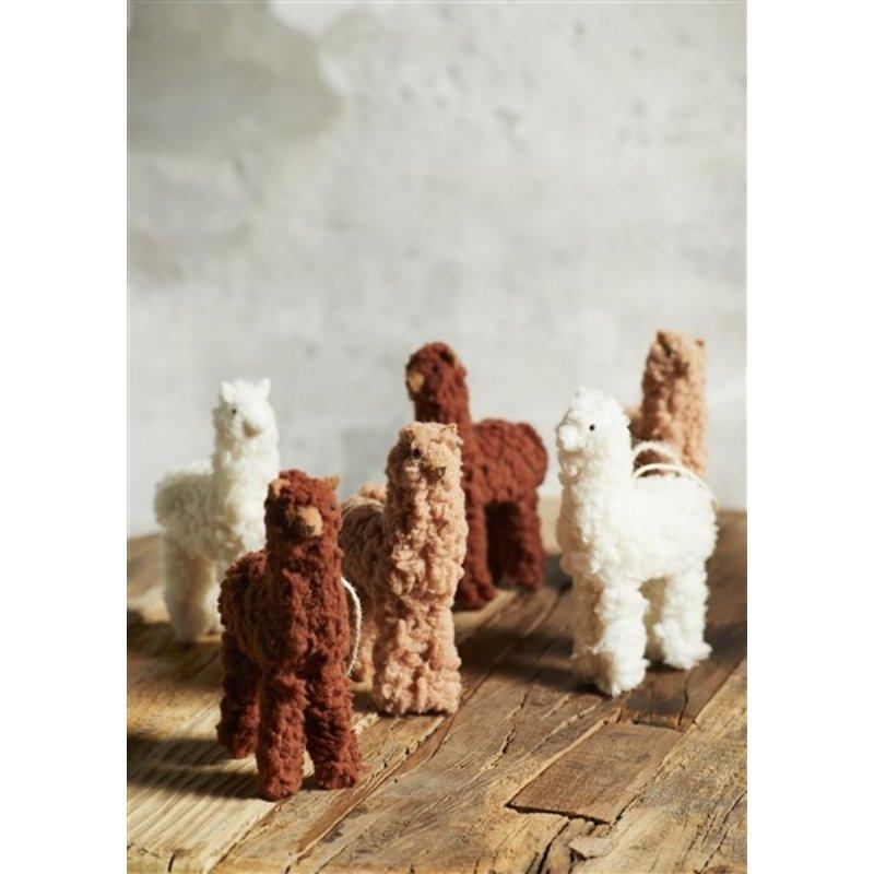 Madam Stoltz-collectie Hanger lama camel/offwhite/bruin - set van 3