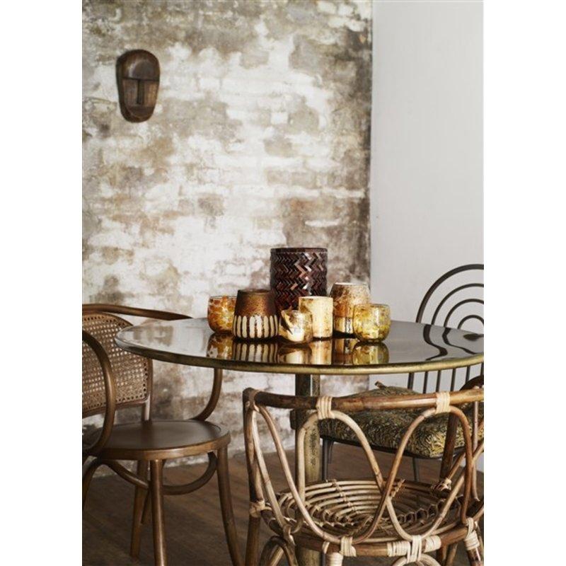Madam Stoltz-collectie Glazen waxinehouder met goud blad
