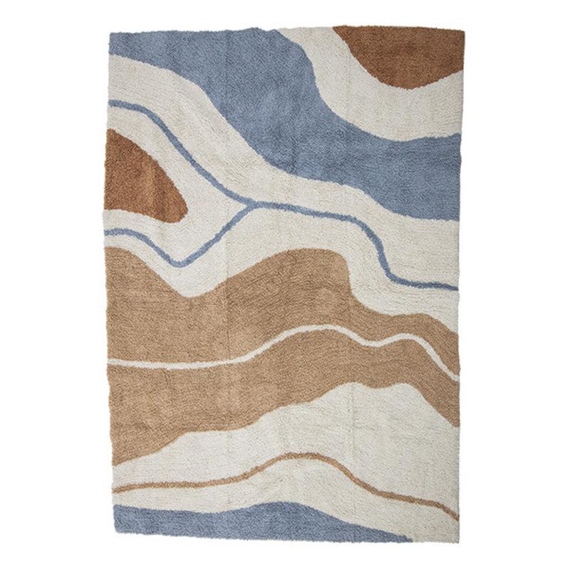 Bloomingville-collectie Vloerkleed Abiola bruin/offwhite/blauw