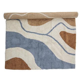Bloomingville Vloerkleed Abiola bruin/offwhite/blauw