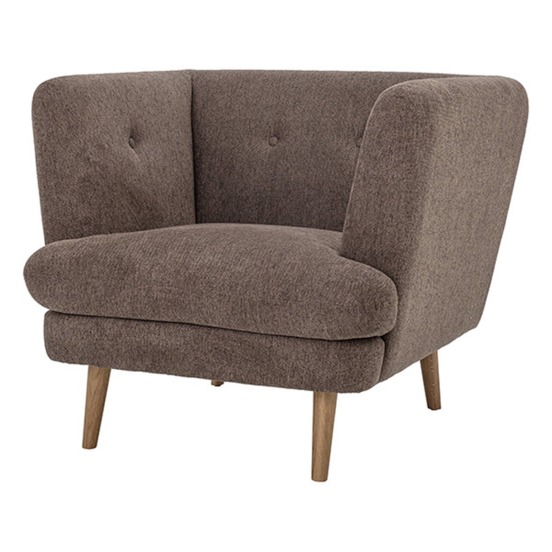 Bloomingville-collectie Elliot Lounge Chair, Brown, Polyester