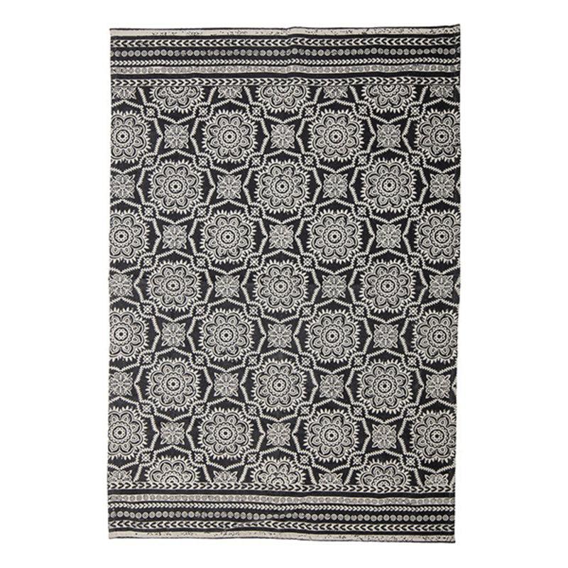 Bloomingville-collectie Vloerkleed Aco zwart/offwhite