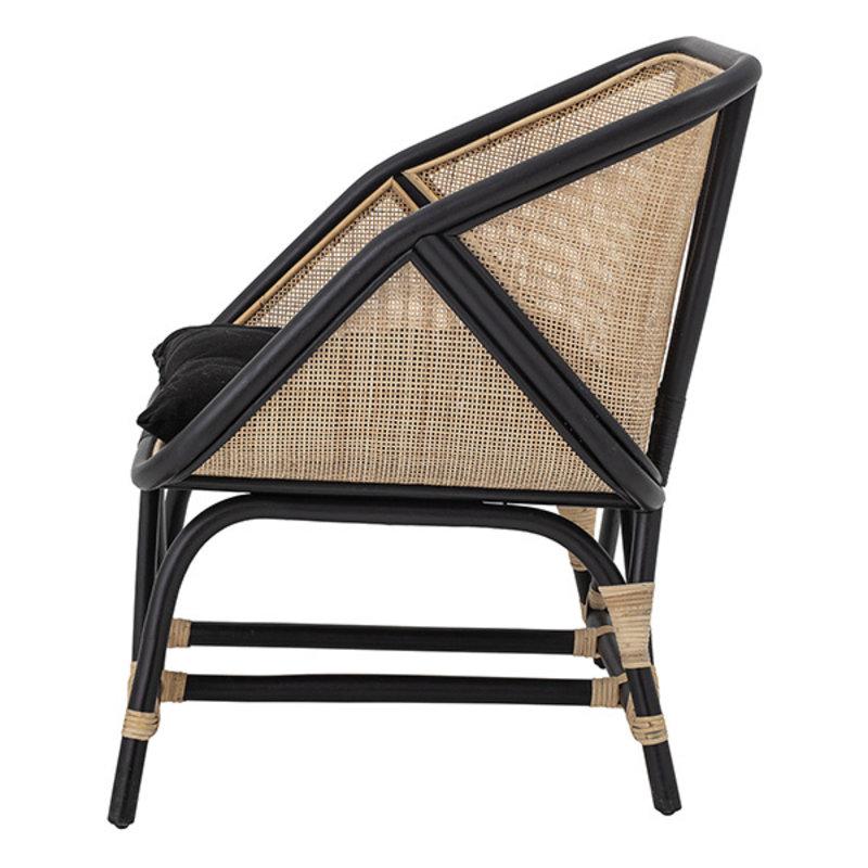 Bloomingville-collectie Lounge stoel Loue zwart/naturel