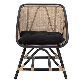 Bloomingville Lounge stoel Loue zwart/naturel