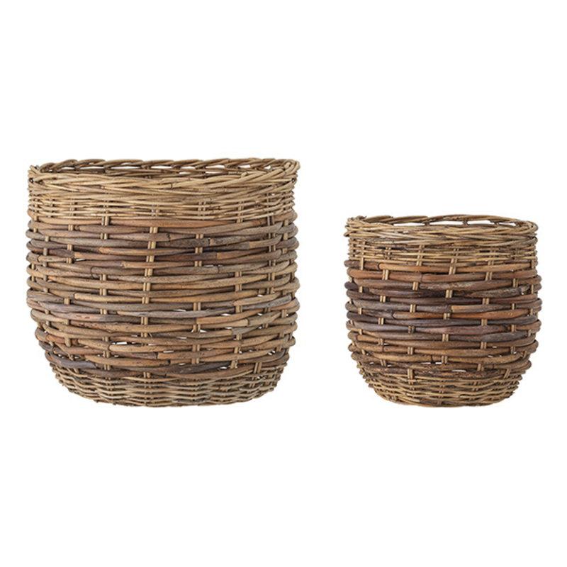 Bloomingville-collectie Rotan manden Lalou - set van 2