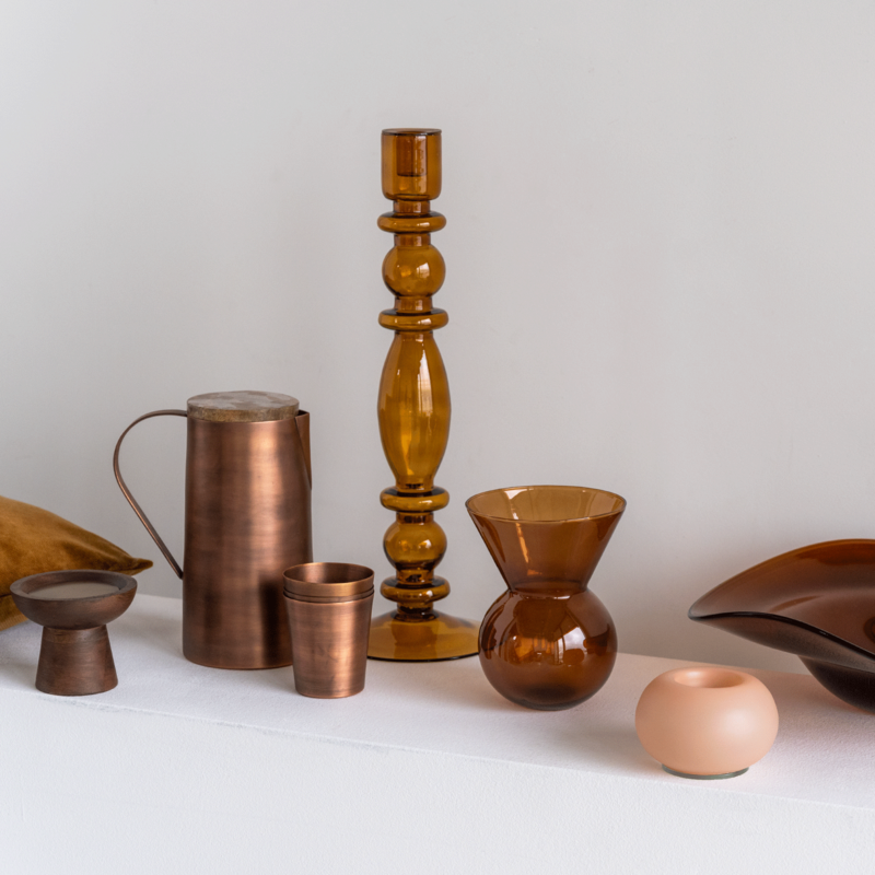 Urban Nature Culture-collectie Kandelaar recycled glas Aesthetic hout rush
