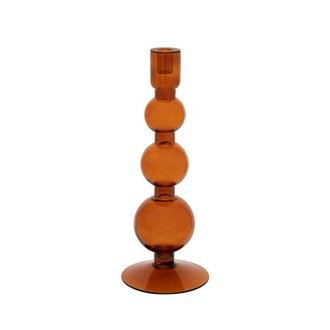 Urban Nature Culture Candle holder recycled glass Bubbles, apricot orange