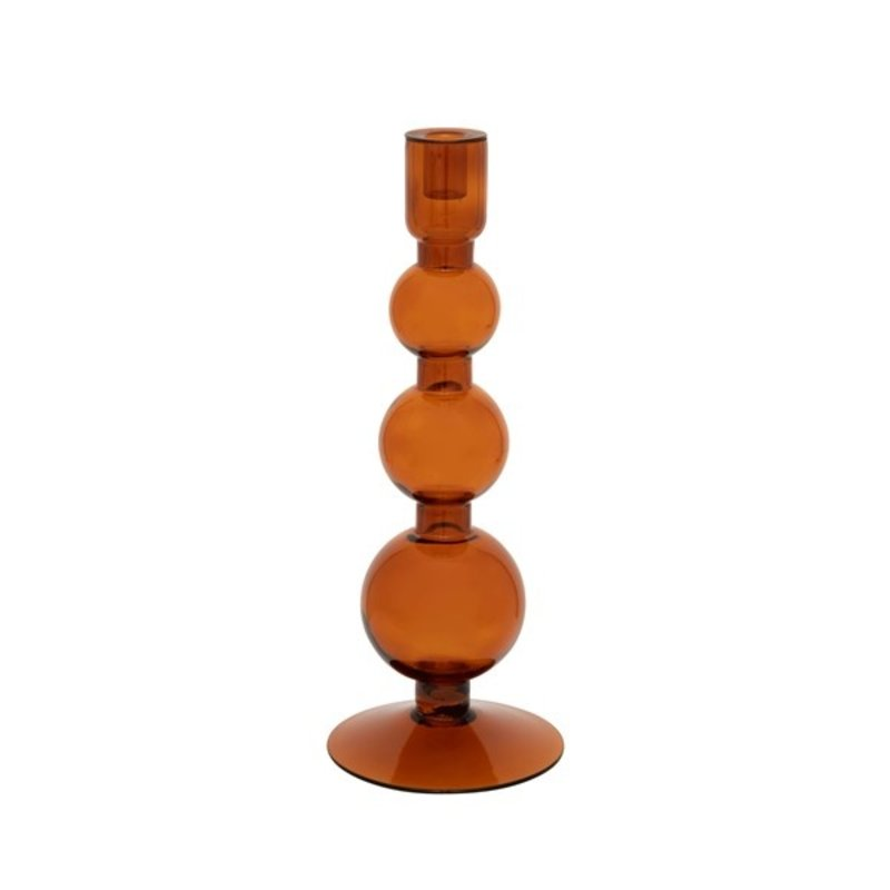 Urban Nature Culture-collectie Candle holder recycled glass Bubbles, apricot orange