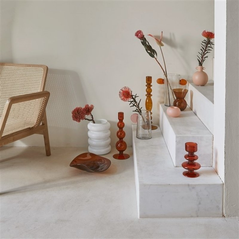 Urban Nature Culture-collectie Kandelaar recycled glas Bubbles apricot orange