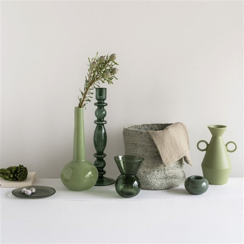 Urban Nature Culture-collectie candle holder recycled glass Aesthetic, duck green