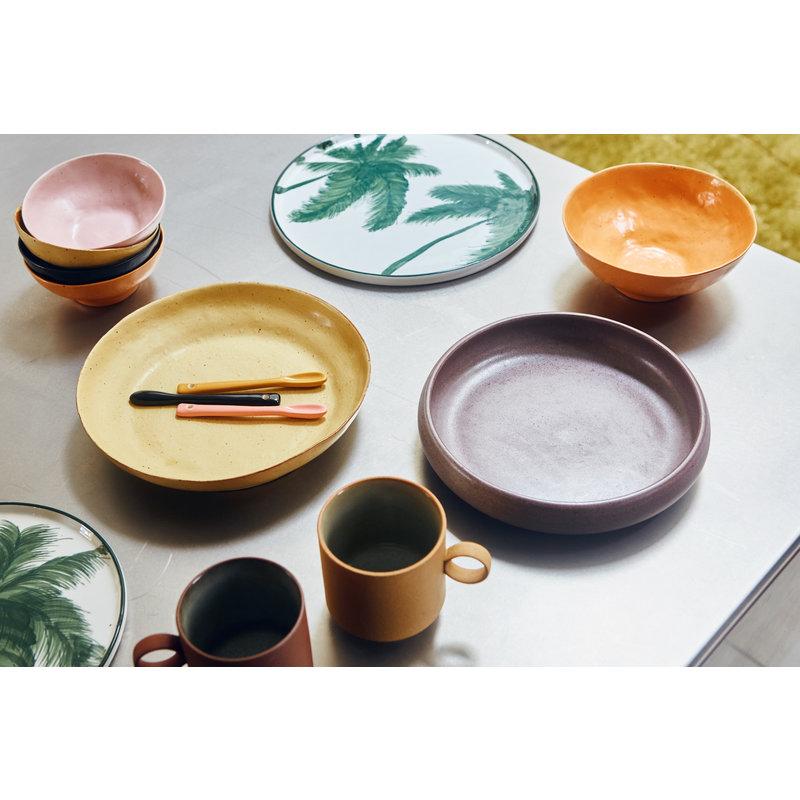 HKliving-collectie Bold & basic keramieks pastabord geel/bruin (set van 2)
