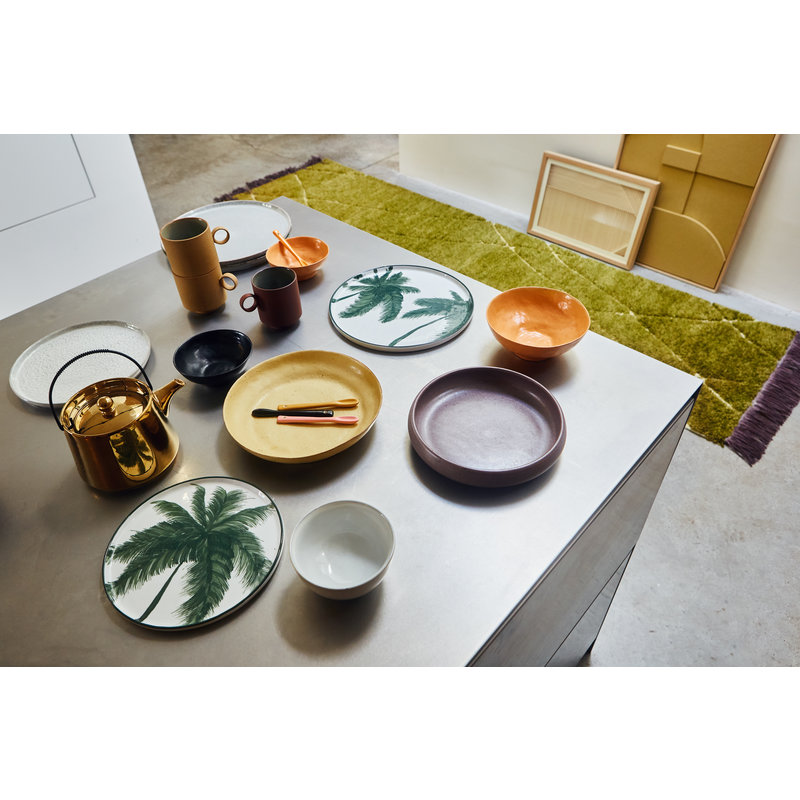 HKliving-collectie bold & basic ceramics: side plate yellow/brown (set of 2)