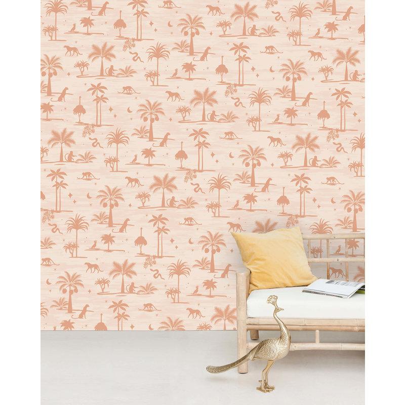 Creative Lab Amsterdam-collectie Jungle Silhouette Pink Wallpaper Mural