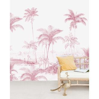 Creative Lab Amsterdam Exotic Palms Roze Behang Mural