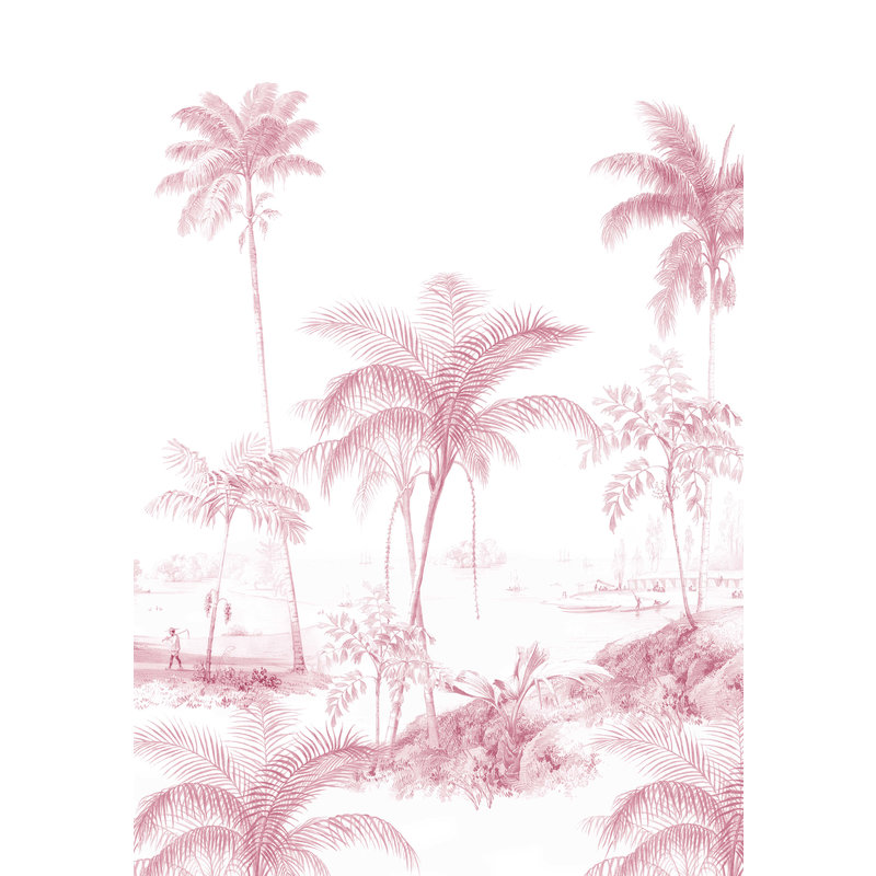 Creative Lab Amsterdam-collectie Exotic Palms Roze Behang Mural