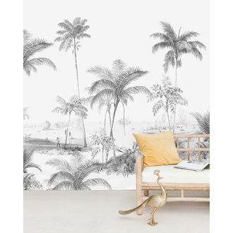 Creative Lab Amsterdam Exotic Palms Black/White Wallpaper Mural