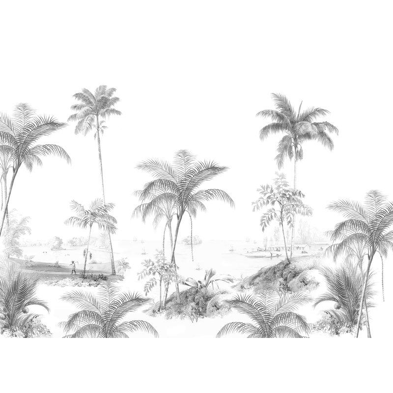 Creative Lab Amsterdam-collectie Exotic Palms Zwart/Wit Behang Mural
