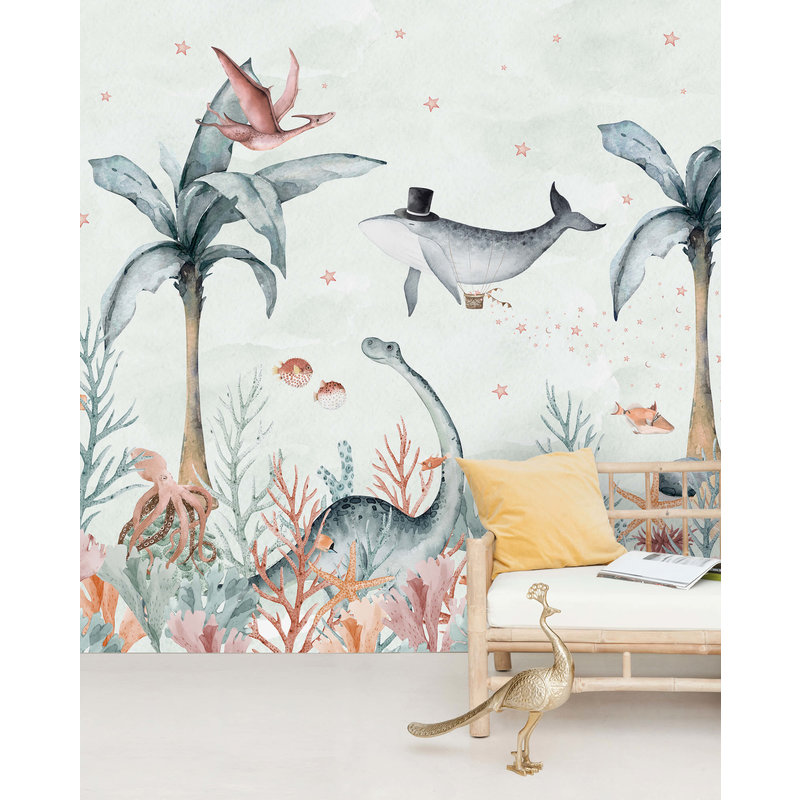 Creative Lab Amsterdam-collectie Flying Whale Wallpaper Mural