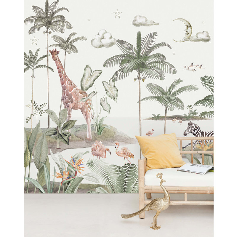 Creative Lab Amsterdam-collectie Smiling Jungle Moon Behang Mural