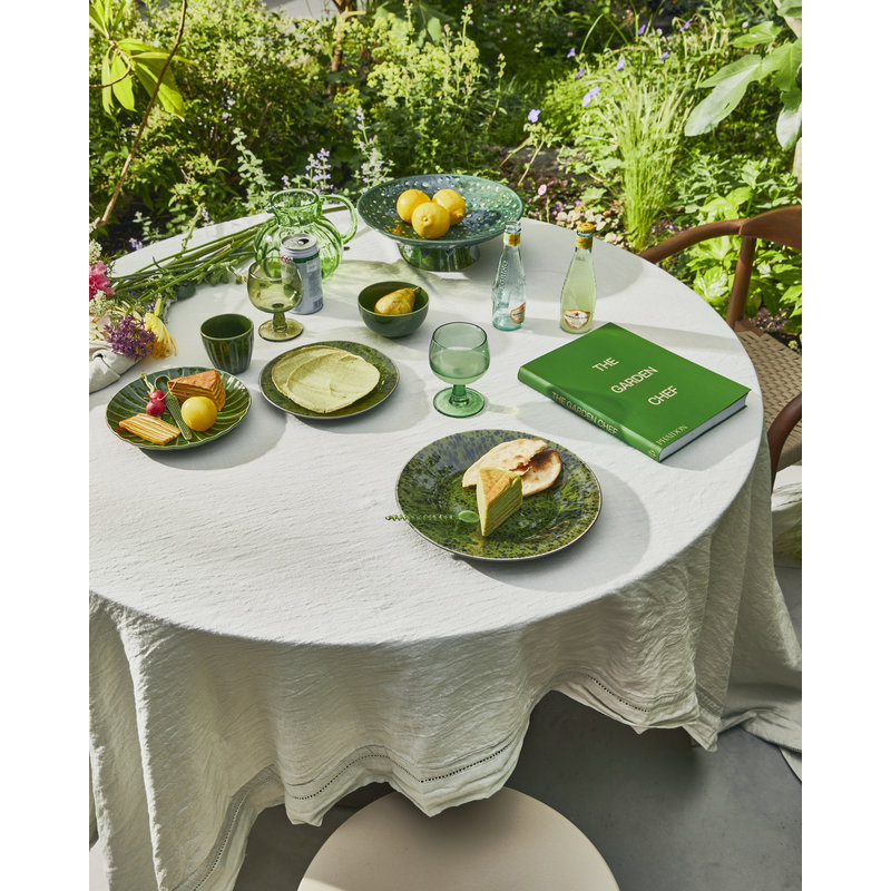 HKliving-collectie the emeralds: ceramic side plate ribbed, green (set of 2)