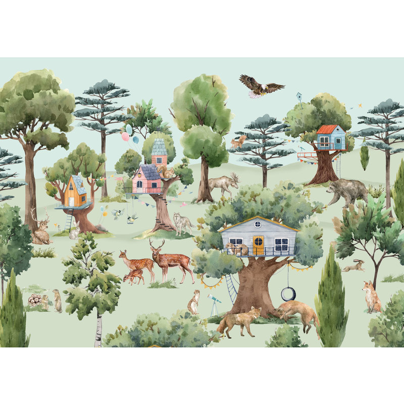 Creative Lab Amsterdam-collectie Treehouse in the Forest Wallpaper Mural