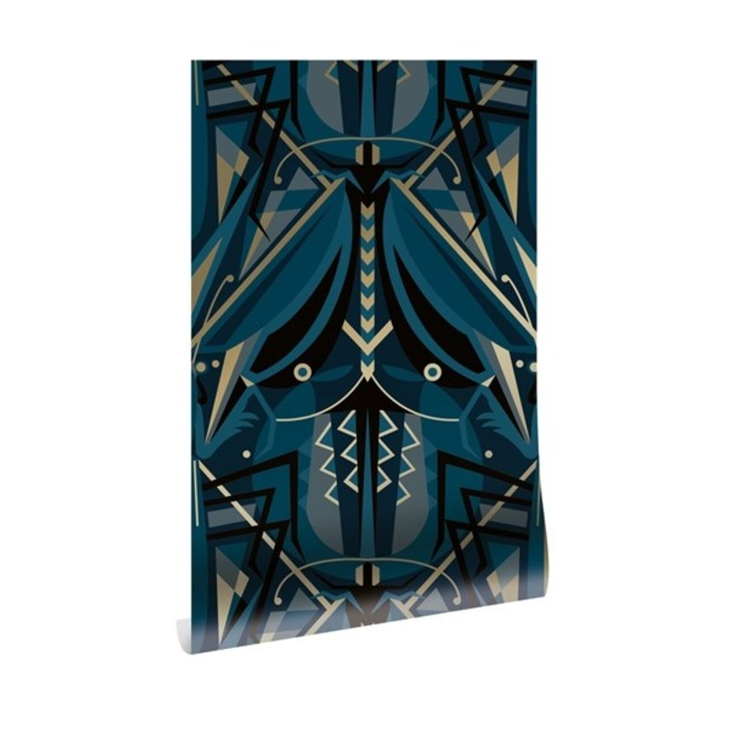 KEK Amsterdam-collectie Goud behang Art Déco Animaux  Grasshopper Blauw