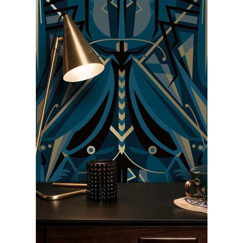 KEK Amsterdam-collectie Gold wallpaper Art Déco Animaux Grasshopper Blue