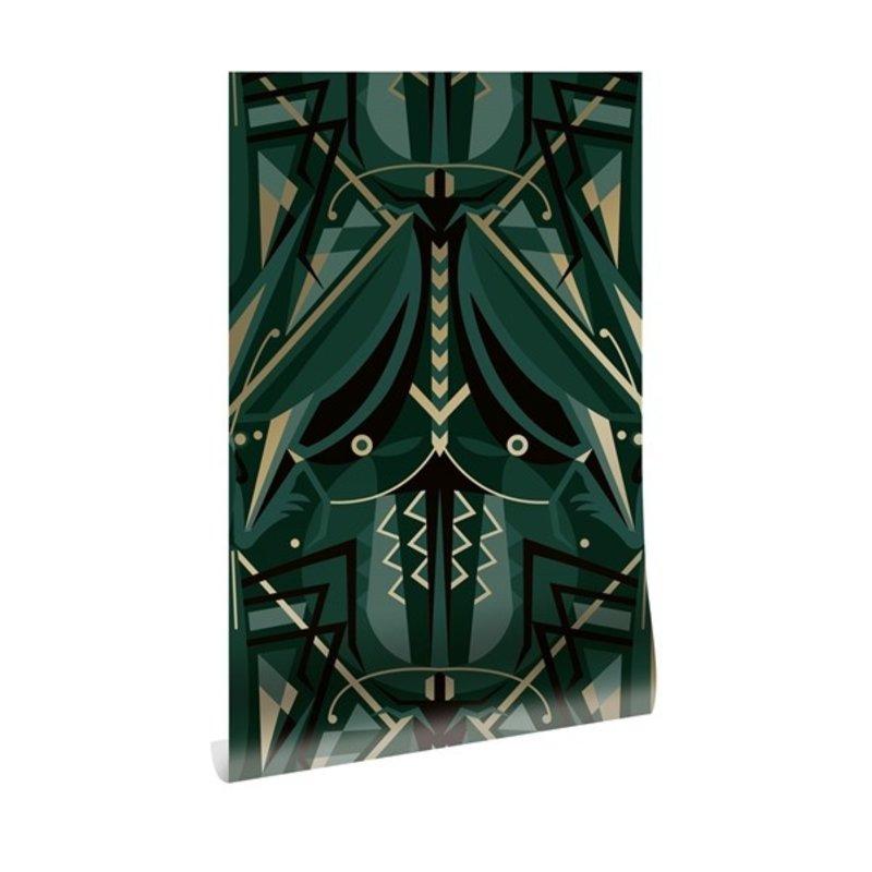 KEK Amsterdam-collectie Goud behang Art Déco Animaux  Grasshopper Groen