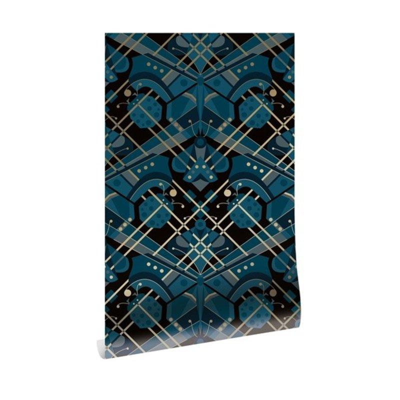 KEK Amsterdam-collectie Goud behang Art Déco Animaux  Butterfly blauw