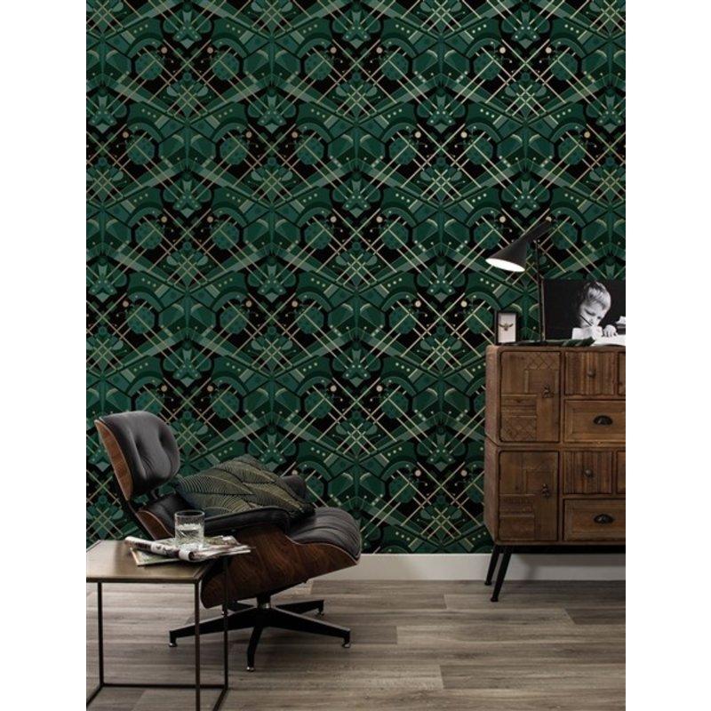 KEK Amsterdam-collectie Gold wallpaper Art Déco Animaux Grasshopper Green - Copy