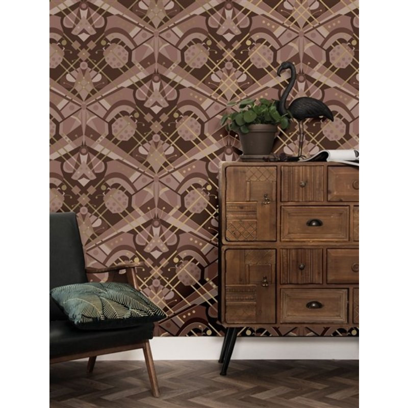 KEK Amsterdam-collectie Kek Amsterdam Gold wallpaper Art Déco Animaux Butterfly Taupe