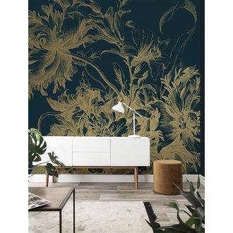 KEK Amsterdam Goud behang Engraved Flowers Blauw
