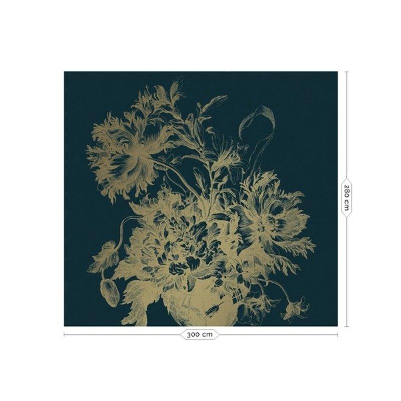 KEK Amsterdam-collectie Goud behang Engraved Flowers Blauw