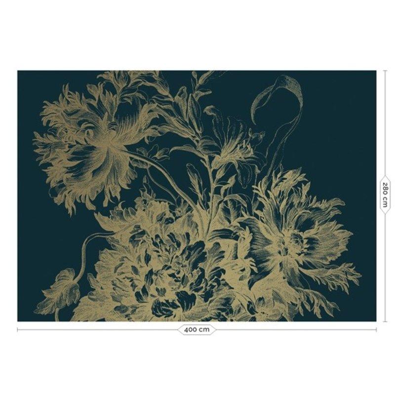 KEK Amsterdam-collectie  Gold Wallpaper Engraved Flowers Blue